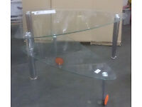 Glass Coffee table with swing out underneath shelf