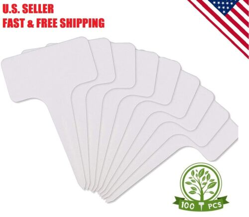 100 Pc 3.9 Inch Plastic Plant Label Garden Stake Marker Nursery Tags T-Type Note
