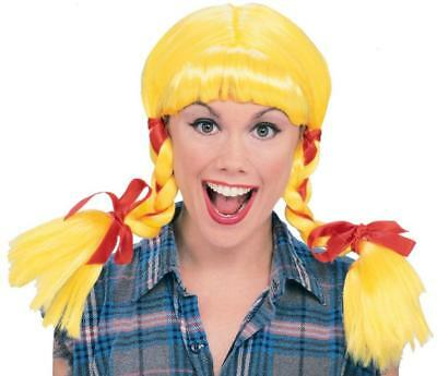 Country Girl Wig Pigtails Fancy Dress Halloween Adult Costume Accessory 3 COLORS - Halloween Pigtails