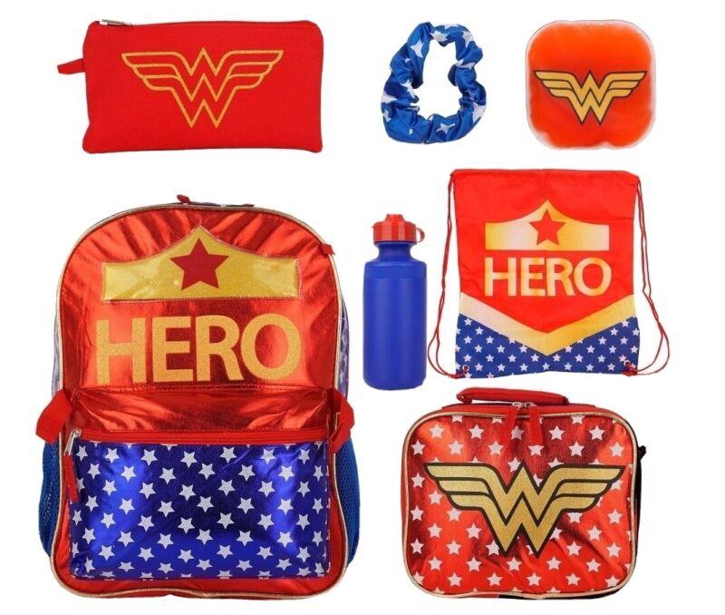 DC COMICS HERO WONDER WOMAN KIDS 7 PIECE BACKPACK/BOOKBAG SET BRAND NEW W/TAGS🔥