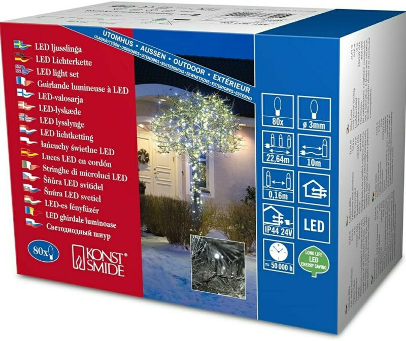 Konstsmide+80+x+LED+Light+Set+with+Multifunction+White+Christmas+Lights+Outdoor+