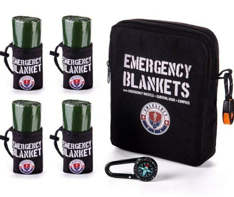 Emergency Blanket Survival Kit - Pack of 4 Blankets, Compass, Whistle