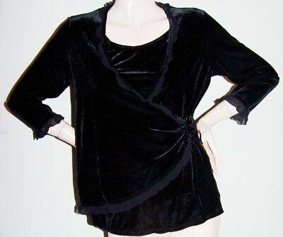 Ruffle Neck Wrap - BLACK VELVET WRAP BLOUSE Sz P-L Dressy Cocktail Ruffle Scoop-Neck 3/4-Sleeves