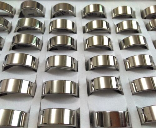 Wholesale 100 Silver Simple Band Rings 8mm Men Women 316L Stainless steel Rings