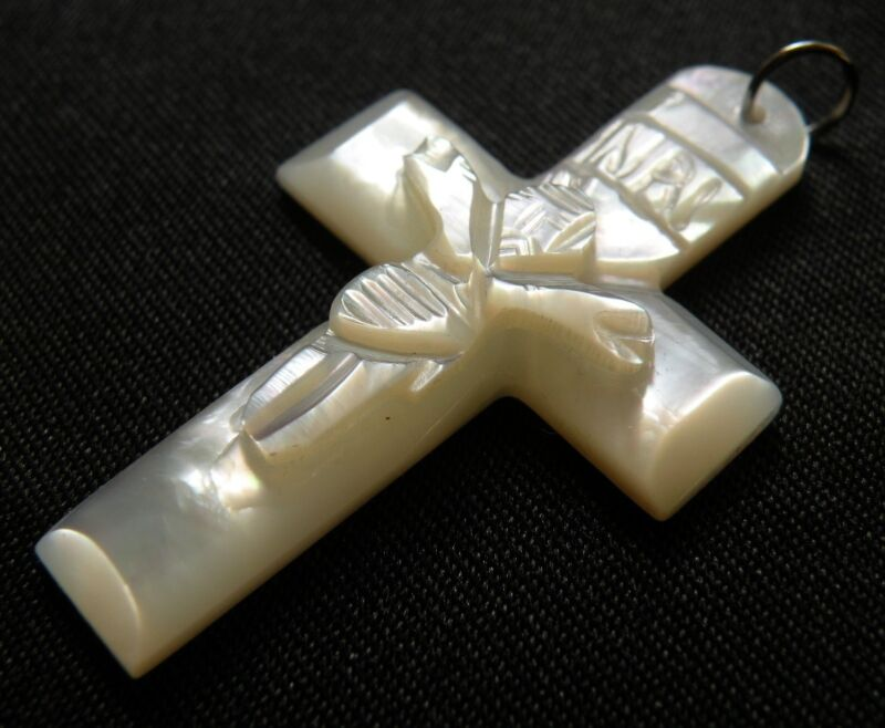 All Mother of Pearl Hand Carved Cross Pendant from Jerusalem Vintage