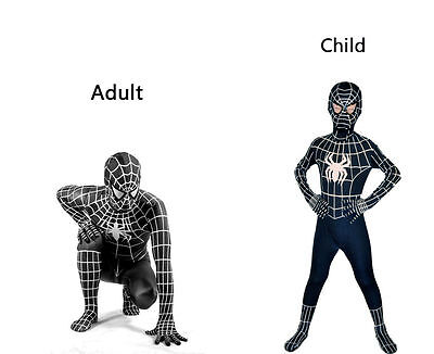 Kid Costume For Adults (Halloween Cosplay One-piece Venom Black Spiderman Costume Suit for Kids or)