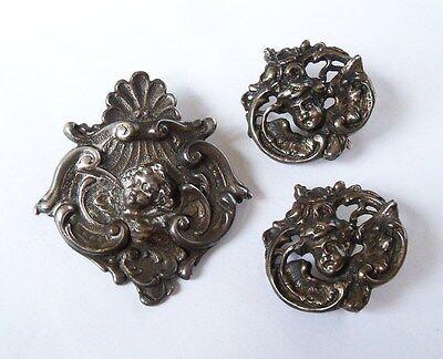 Vintage Art Nouveau Sterling Silver Angel Cherub Scallop Pin Brooch Clip Earring