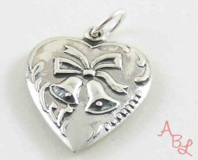 Sterling Silver Vintage 925 Bells On Heart Pendant (1.6g) - 809735 Heart Silver Bell
