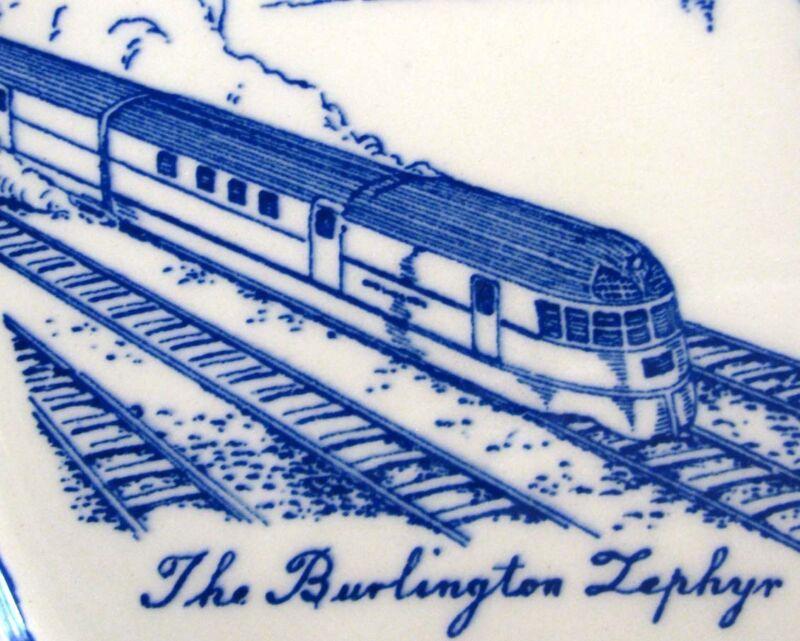 BURLINGTON, Iowa Blue 1940s Collector's Plate by Vernon Kilns