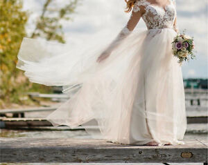 Ivory and Blush Wedding Dress Tulle Skirt