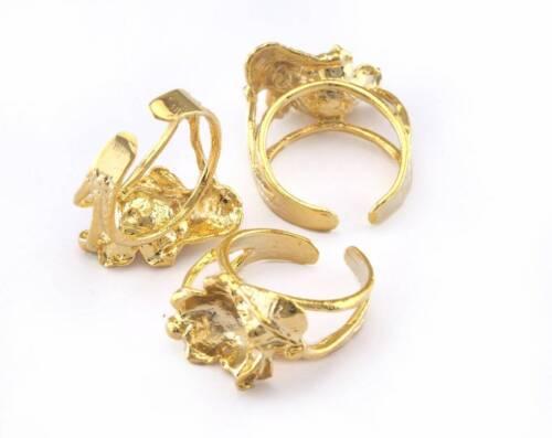 Ring Flower Leaf Adjustable Bezel - Shiny Gold Plated brass 17mm 7US  size 2986