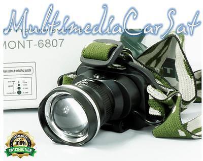 Torcia Lampada Testa Casco Led Ricaricabile Zoom Pesca Caccia Soft Air BL 6807