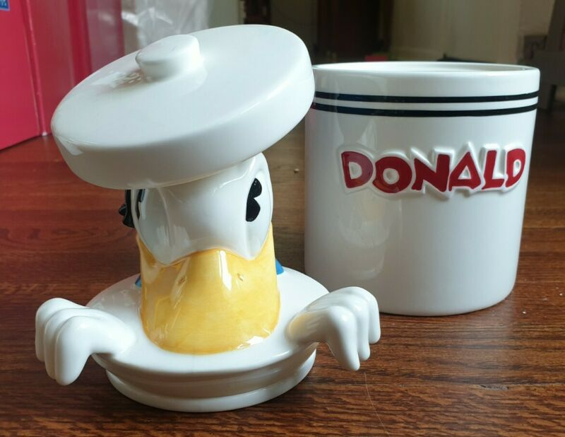 "Disney - Donald Duck ""Peek-A-Boo"" Ceramic Cookie Jar Canister"