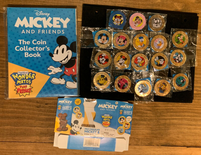 Disney Mickey And Friends Wonder Mates 18 Piece Set, Plus Collectors Coin Book.