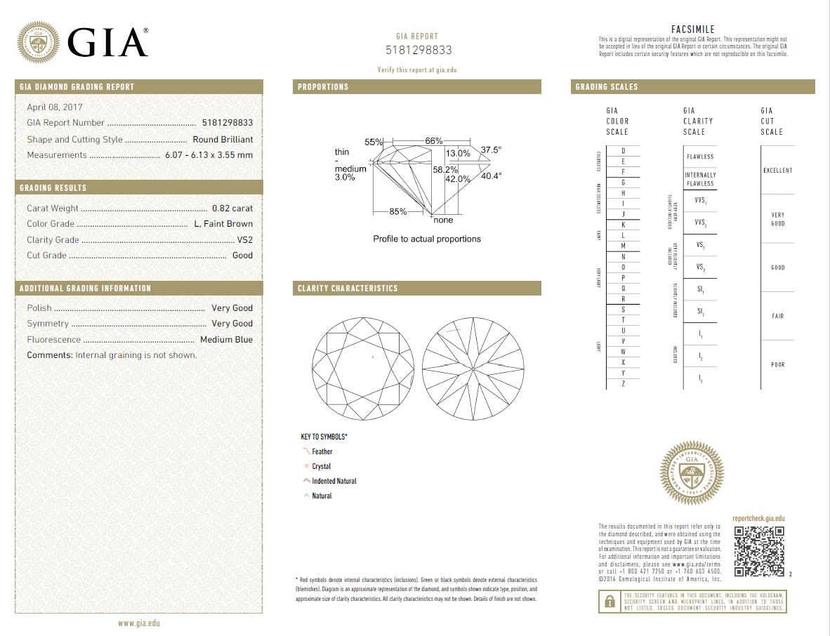0.82 Carat Loose L/ VS2 Round Brilliant Cut Diamond GIA Certified