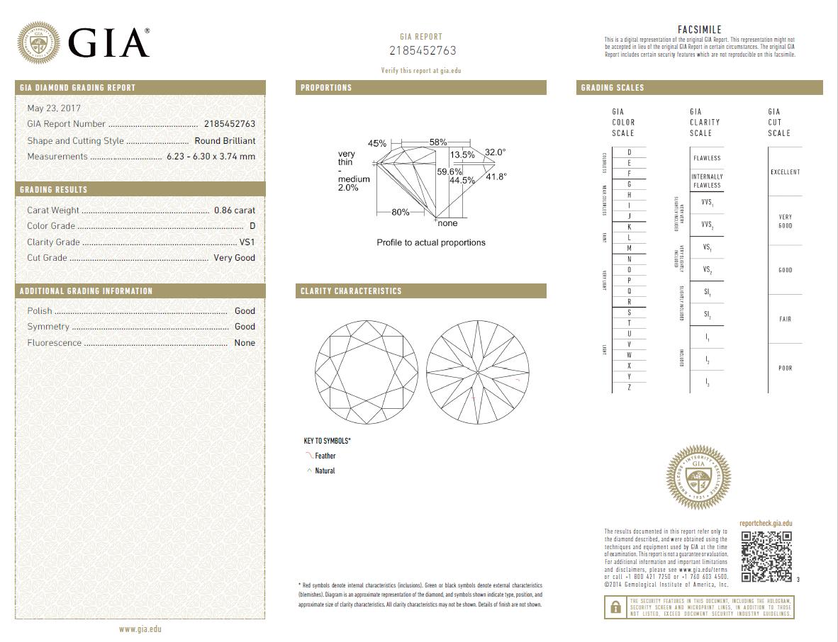 0.86 Carat Loose D / VS1 Round Brilliant Cut Diamond GIA Certified