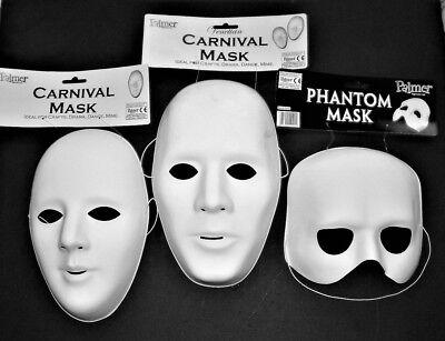 MASQUERADE HALLOWEEN UNISEX WHITE PLASTIC FULL FACE AND PHANTOM FACE MASKS NEW - White Plastic Face Masks