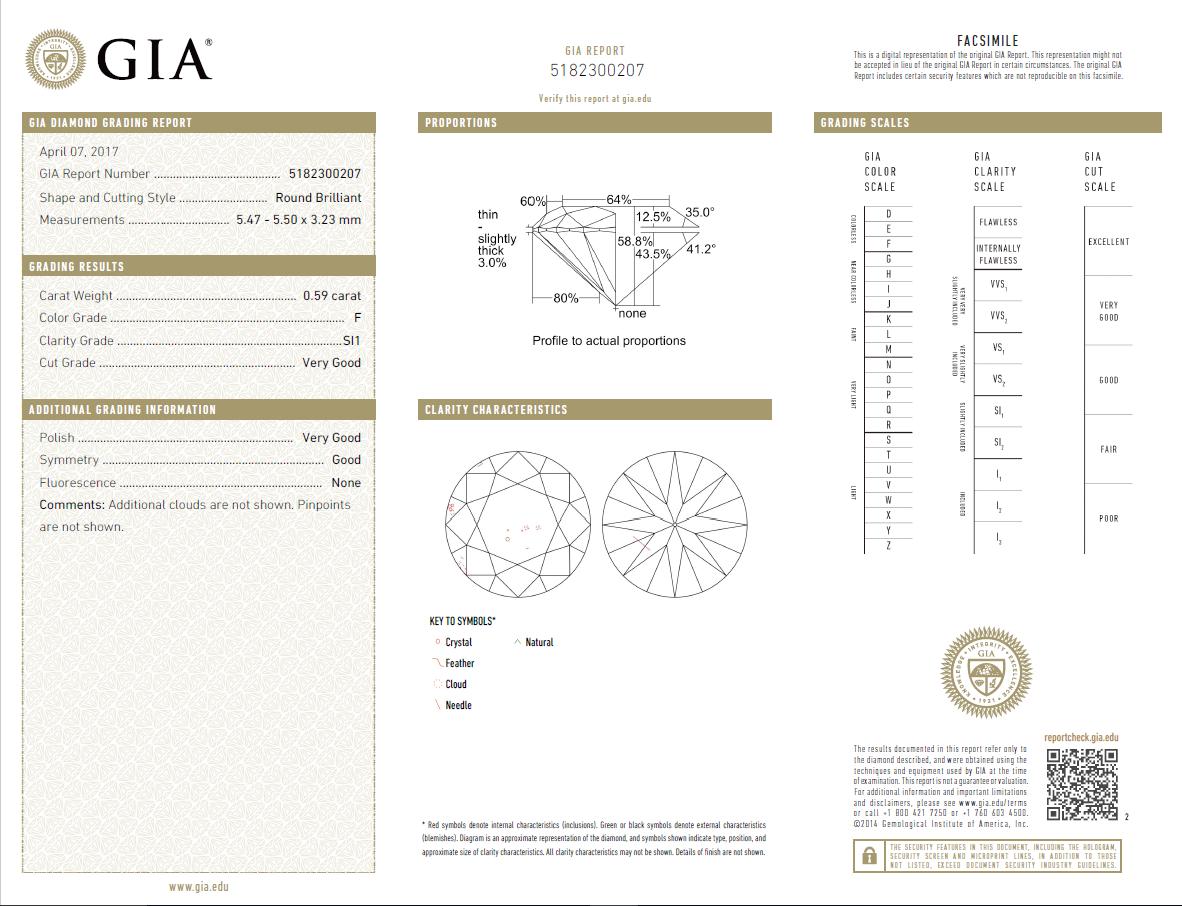0.59 Carat Loose F/ SI1 Round Brilliant Cut Diamond GIA Certified