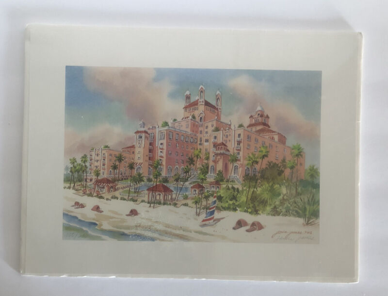 """JANICE JAMES LE 108/200 DON CESAR PINK HOTEL 15"""" X 11"""" SIGNED PRINT-NEW-SEALED"""