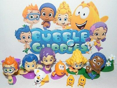 Nickelodeon Bubble Guppies Mini Figure Set of 12 w/ Gil, Molly, Bubble Puppy Etc (Bubble Guppie Toys)
