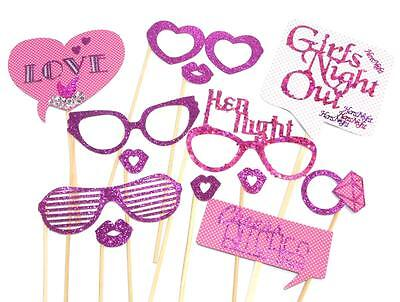 Photo Booth Props - Girls Night Out Hens Night Bachelorette Wedding Party x 13PC (Bachelorette Photo Booth Props)