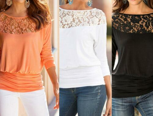 $9.99 - Fashion Women Summer Loose Casual Chiffon Long Sleeve Lace T Shirt Tops Blouse