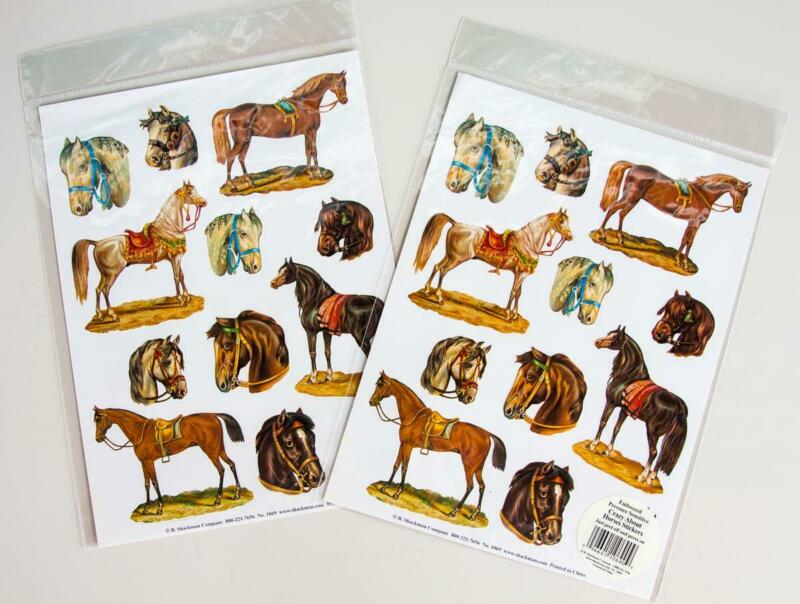 2/Sheets Vintage Shackman Crazy About Horses Embossed Stickers 24 Pcs. New #1069