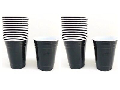 Black 16 oz Plastic Cups Party Drinking Halloween New Years  - 30ct New Spritz