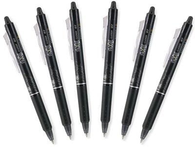 Pilot Frixion Clicker 0.7mm Erasable Gel Pens Fine Point Black Ink Pack Of 6