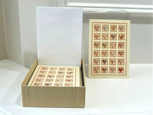 NEW Crown Point Graphics 15 QUILTED HEARTS Cards & Envelopes By HEIDI SATTERBERG