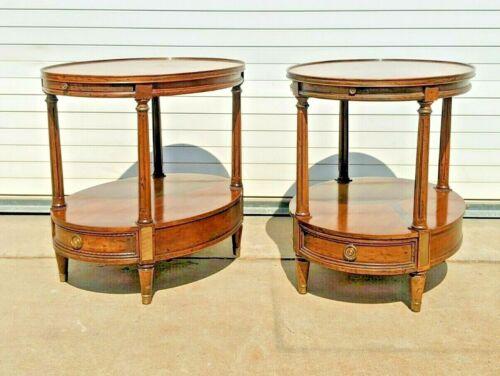 Vintage MCM Banded Walnut Oval End Side Tables by Heritage