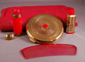 Unusual-Coty-Vintage-Leather-Vanity-Clutch-w-Compact-Perfume-Lipstick-Comb