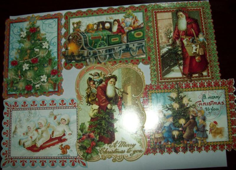 NEW BOXED PUNCH STUDIO CHRISTMAS NOTE CARDS ENV 24 CT Old World Santa blank insd