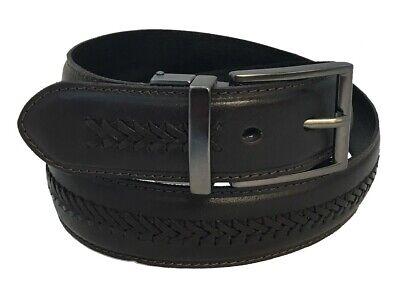 Men's Genuine Leather X-Laced Reversible Belt w/Polished Gun Metal Belt Buckle!! Belted Lace Belt