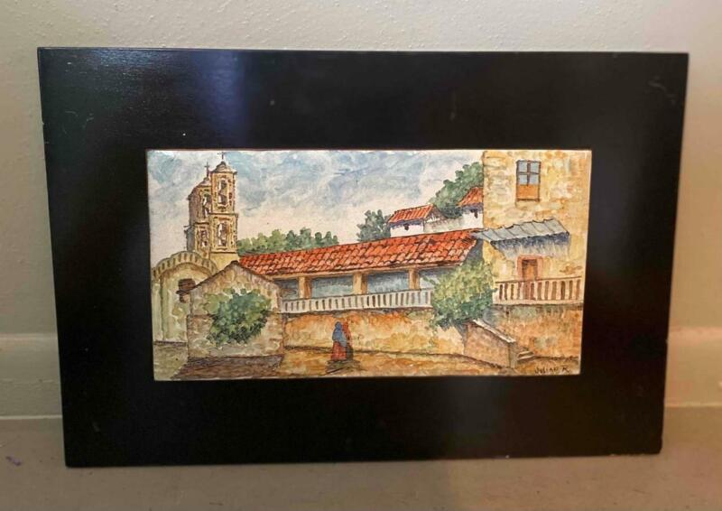 VINTAGE JULIAN RODRIGUEZ MEXICAN TILE PICTURE OF TAXCO MEXICO