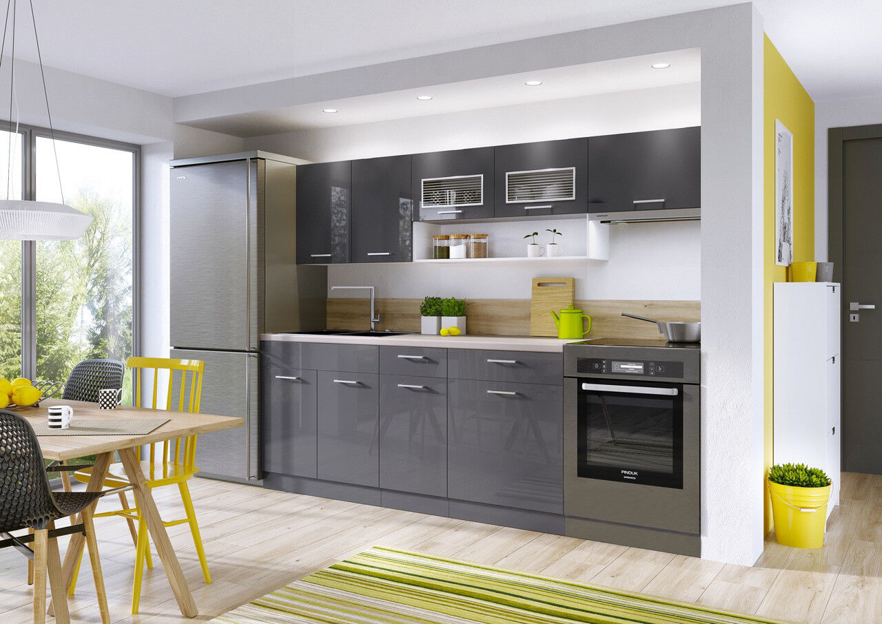 Grey High Gloss Kitchen 6 Units Legs Cabinets Set Acrylic Soft Close 240cm Luxe 5901997878267 Ebay