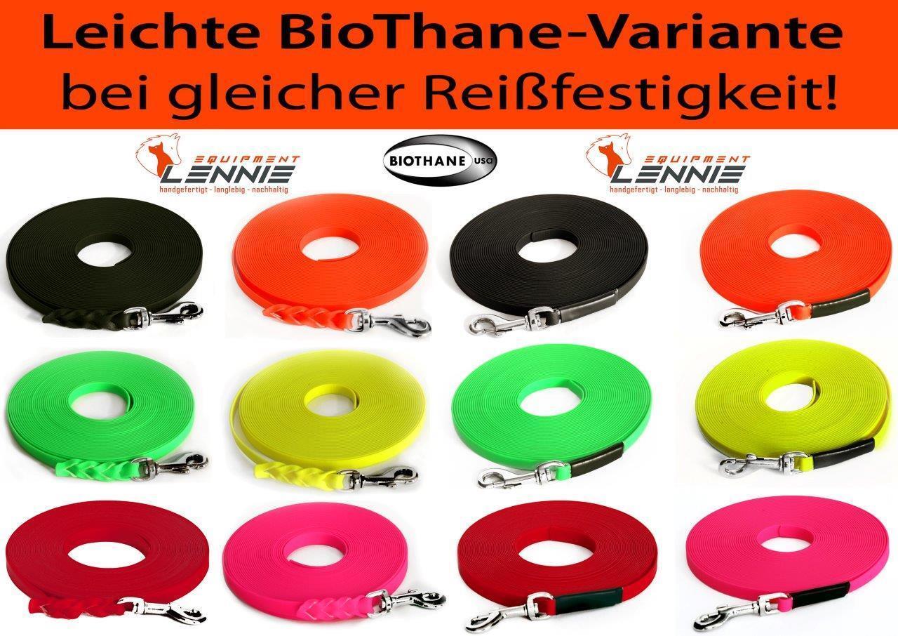 Leichte dünne BioThane® Schleppleine Super Flex 9 mm, Hundeleine, Welpenleine