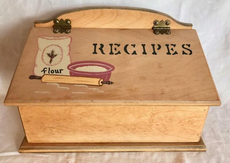 Large Hand Painted Wood Recipe Box