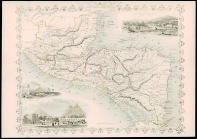 1850 Original Antique Map -