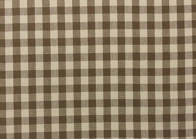 Ballard Designs Small Check Toffee Brown Cream Multipurpose Fabric By Yard 54 W