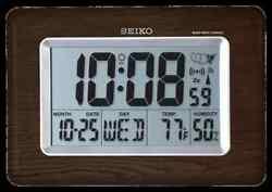 *BRAND NEW* Seiko Everything Digital R WAVE Wooden Clock QHR020BLH