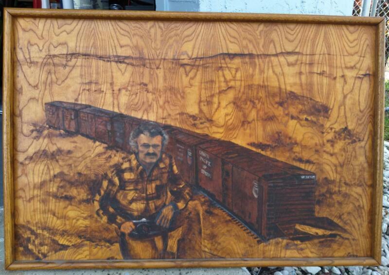Old Vintage American Union Pacific Railroad Train Oil Painting Art Portrait Man