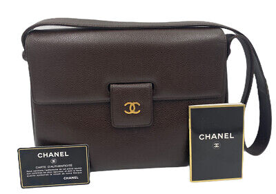 CHANEL VINTAGE CAVIAR BROWN LEATHER CC LOGO SHOULDER BAG WITH AUTHENTICITY CARD