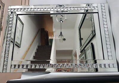 Brillante Plata Cristal Pared Grande Espejo Cuarto de Estar Recibidor Dormitorio