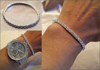 Clear Crystal Rhinestone Bracelet - NEW SILVER CLEAR RHINESTONE CRYSTAL STRETCH TENNIS BRACELET