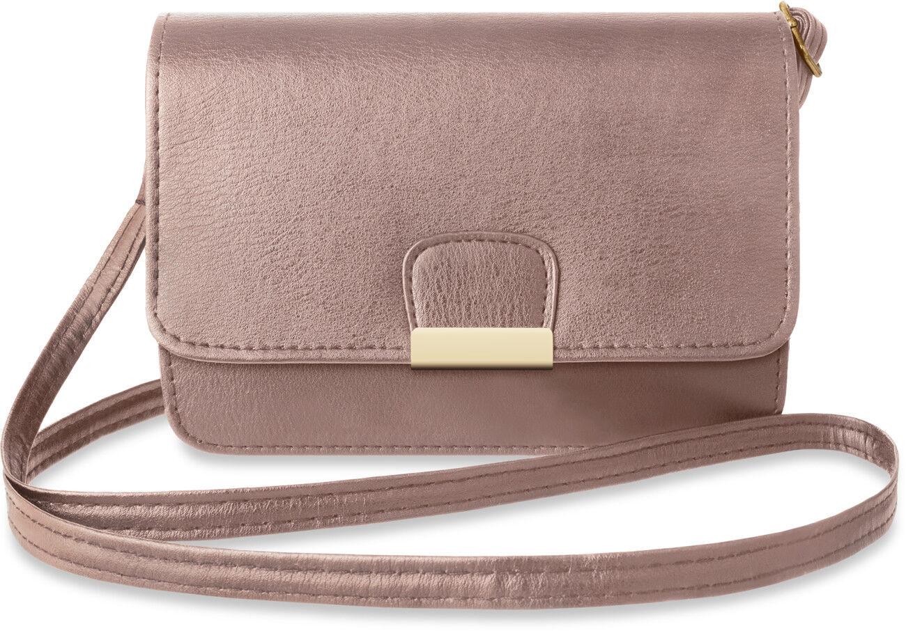 Damen kleine klassische Schultertasche Clutch Handtasche rosa