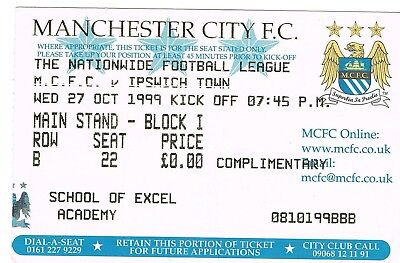 Ticket - Manchester City v Ipswich Town 27.10.99