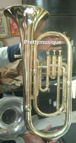 BARITONE OF PURE BRASS IN BRASS POLISH +FREE CASE BOX & MOUTHPC + FREE SHIPPING