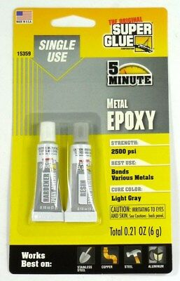 15359 - Superglue Single Use Epoxy Tubes For Metal Sets In 5 Minutes