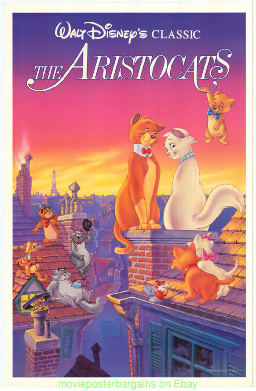 THE ARISTOCATS MOVIE POSTER V.F. 27x41 Folded Re-release 1987 DISNEY Animation